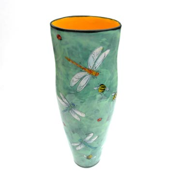 Rainbow Gate-Tall Vase Dragonflies